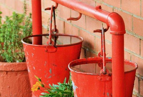 Garden water bucket fire