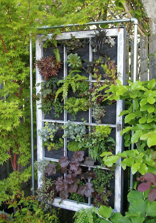 Vertical garden support window frame