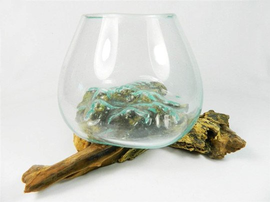 Melted-glass-on-wood bowl