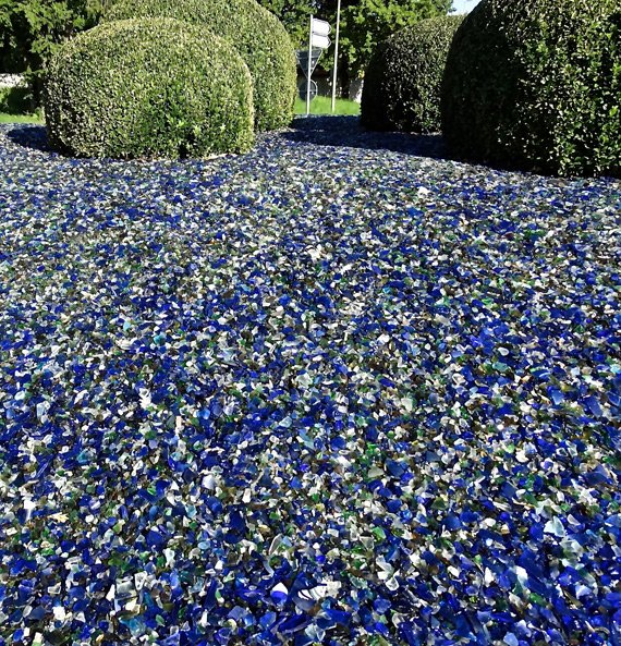 Broken blue glass mulch