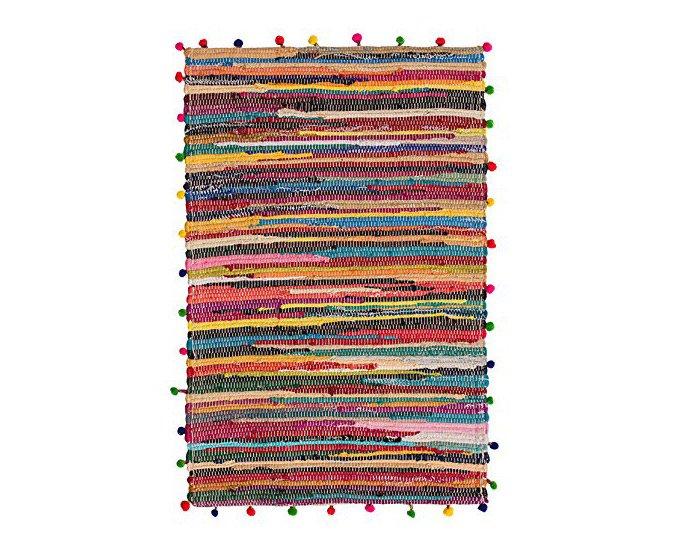 rag rug with pom poms