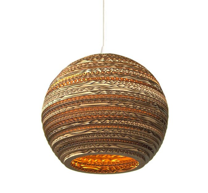 Recycled cardboard pendant light