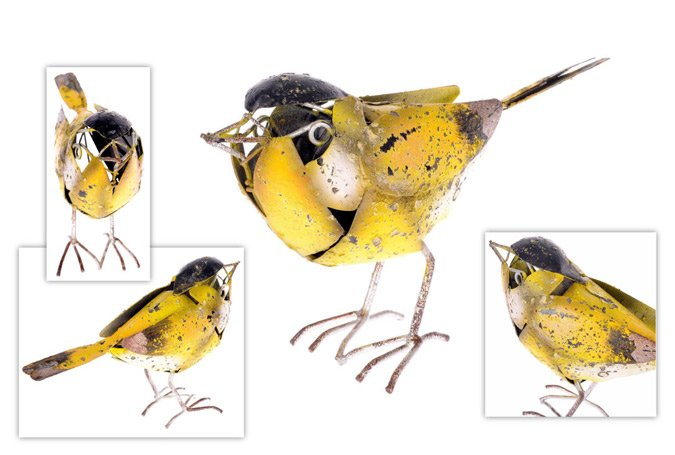 yellow garden bird ornament
